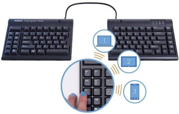 Kinesis Freestyle2 Blue: Keyboard with instant switching between the three devices