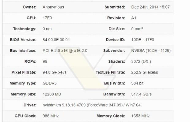 Nvidia Maxwell GM200 GPU appears in GPU-Z database