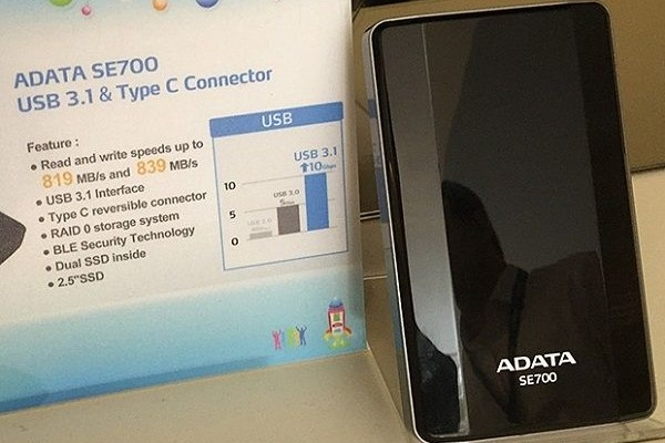 SSD ADATA SE700: USB 3.1 and write at a speed of 839 MB / s